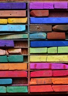 chalk pastel palettes (photo by Elsie Larson) Love all the colors! World Of Color, Color Of Life, Chalk Pastels, Soft Pastels, Over The Rainbow, Color Theory, Candy Colors, Belle Photo, Rainbow Colors