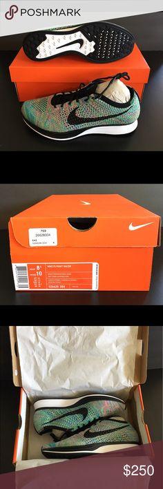 Nike Flyknit Racer BNIB Brand new sneakers, never worn! Style# 526628 304. Color: Green strike/black-blue lagoon. Nike Shoes Sneakers