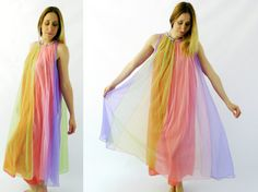 70's Rainbow Nightgown OSFM by HeritageWardrobe on Etsy