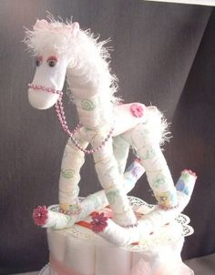 Baby Shower Rocking Horse diaper cake topper