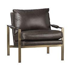 living room - Crate and Barrel | Milo Classic Leather Brass Lounge Chair