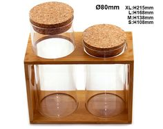 New style glass jar with wooden top