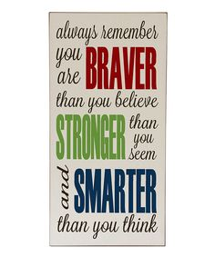 Cream & Red 'Braver' Wall Sign