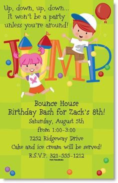 Bounce house party invitations bouncy castle printable bounce bounce house birthday party invite stopboris Images