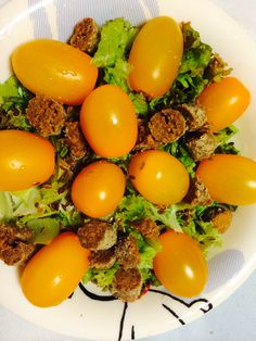 Salad for dinner yellow tomatoes delish healthy