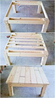 Square Table Made From Pallets -- #pallets #palletproject