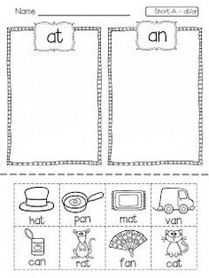 Short Vowel Word Families Picture Sorts