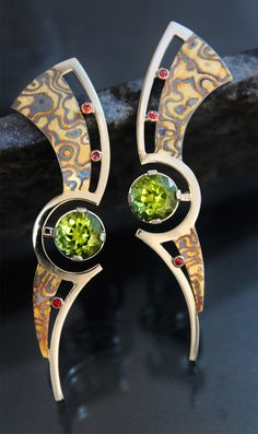 Peridot and Orange Sapphire Mokume Gane Earrings