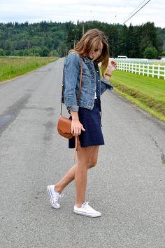 A Line Skirt, Denim Jacket | Fishbowl Fashion