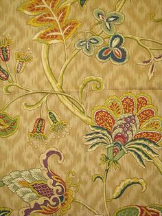 """Deauville Dance Gem.  100% cotton for Drapery, Bedding, Pillows, Light Use Furniture. 27"""" vertical repeat, waybond finish, 54"""" wide."""