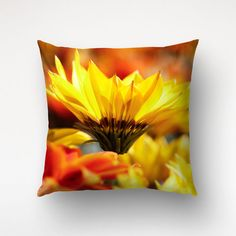 Yellow Flower Pillow, Nature Photography, Floral Throw Pillow, Living Room Decor, Pillow With Insert