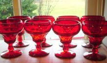 Fenton Ruby Red Set of (8) Eight Champagne Goblets
