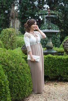 Modest Fashion | Modest Bridesmaid Dresses | Tan and Ivory Lace Pleated Chiffon Fairest of Them All Dress by Dainty Jewell's