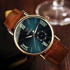 Classic Men's Date Leather Stainless Steel Sport Quartz Noctilucent Wrist Watch