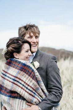 Blanket Bride Groom Scottish Beach Wedding http://www.kat-hill.com/