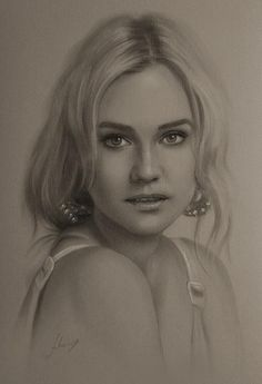 Diane kruger - Pencil Sketches by Krzysztof Lukasiewicz <3 <3