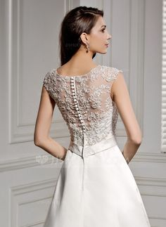 A-Line/Princess Scoop Neck Chapel Train Satin Lace Wedding Dress With Beading Sequins (002056605)