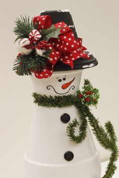 Clay Pot Snowman. Heavy...good for the porch or under the tree. Make 2 and place on either side of the fireplace on the hearth, or either side of the front door.