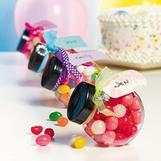 Looking for a way to hand out favors that are fun and reusable? Try these favor jars! Just fill these jars with colorful treats and tie ribbon around them to . Wedding Supplies, Party Supplies, Lolly Bags, Favour Jars, Personalized Favors, Oriental Trading, The Fresh, Party Favors, Shower Favors