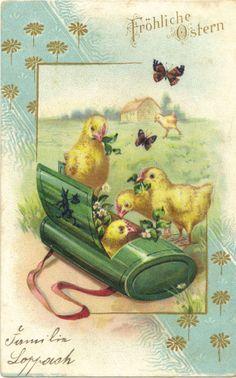 Ostern, Kücken, Schmetterling, Litho-Glückwunschkarte von 1906