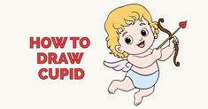 Learn to draw cupid. This step-by-step tutorial makes it easy. Kids and beginners alike can now draw a great looking cupid for the Valentine's Day. Drawing Videos For Kids, Drawing Tutorials For Kids, Easy Drawings For Kids, Cupid Drawing, Donut Drawing, Valentines Day Cartoons, Valentines Day Drawing, Easy Drawings Sketches, Disney Drawings