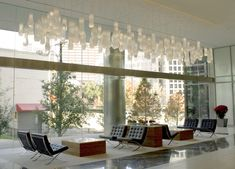 Soft Motion project by Wimberley Glassworks Commercial Office Space, Office Space Design, Blown Glass, Art And Architecture, Lighting Design, Valance Curtains, Glass Lights, Design Ideas, Home Decor