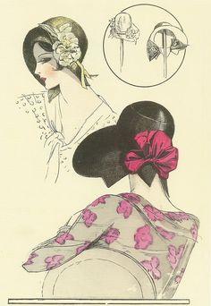 Chapeaux de paille noirs par Yvonne et Maggy, Les Chapeaux de la femme chic, 1930