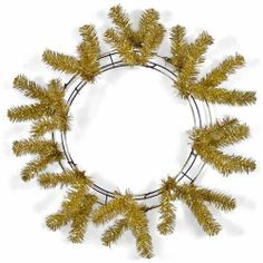 """Gold 30"""" Work Wreath by CRAIG BACHMAN. $17.84. This 30"""" work wreath is basically a wire wreath form with 36 pre-attached metallic wire tips. The wire tips can be used to quickly attach poly deco mesh garland, ribbon, floral sprays or ornaments to the wreath form, creating your own one-of-a-kind w"""