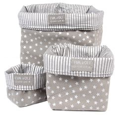 fabric storage bins - three sizes easy to make from old tea towels, shirt sleeves etc etc.