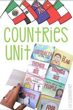 Elementary social studies, making a flip book for countries around the world! Social Studies Activities, Teaching Social Studies, Geography Activities, Teaching Vocabulary, Around The World Theme, Powerpoint Lesson, World Geography, Geography For Kids, Thinking Day
