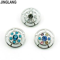 JINGLANG Best Selling High Quality Fashion Interchangeable Dual Ring Snap Button WIth Colorful Crystal for Bracelet Accessories #Affiliate
