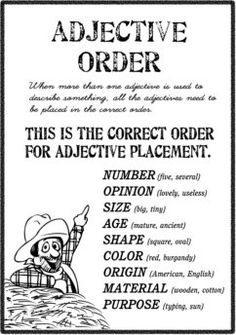 Order of Adjectives in English Grammar And Punctuation, Teaching Grammar, Grammar And Vocabulary, Teaching Writing, English Vocabulary, English Grammar, Teaching English, English Language, English Adjectives