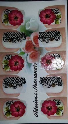 New nails art flowers roses 41 Ideas Trendy Nail Art, New Nail Art, Nail Art Diy, Cool Nail Art, Diy Nails, Nail Nail, Dark Color Nails, Nail Colors, Flower Nail Art
