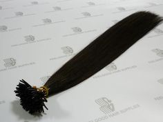 Stick/I tip hair extensions with Euro texture cuticle remy hair and pre-bonded keratin, 20 inches long, color 1B.