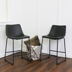 Wasatch Faux Leather Counter Stools - Black