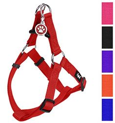 No Pull Dog Harness Adjustable Basic Nylon Step in Puppy Vest Outdoor Walking Chest Girth 238317 Large PUPTECK -- Check this awesome product by going to the link at the image.(This is an Amazon affiliate link and I receive a commission for the sales)