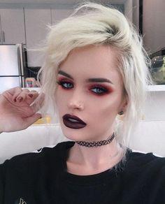 Best Ideas For Makeup Tutorials : Bold makeup look by atleeeey Goth Make-up Punk Makeup, 90s Makeup, Witch Makeup, Beauty Makeup, Hair Makeup, Eyeshadow Makeup, Makeup Cosmetics, Goth Eye Makeup, Eyelashes Makeup