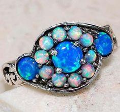 Blue Fire Opal | Blue-Fire-Opal-Opal-925-Solid-Sterling-Silver-Victorian-Style-Ring-Sz ...