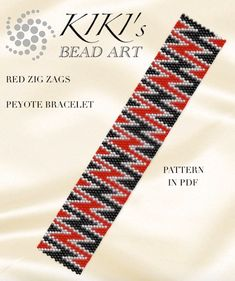 Peyote Pattern, Red zig zags geometric peyote bracelet pattern in PDF - instant download