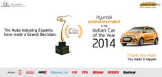 Grand feat! Hyundai Grand awarded the prestigious Indian Car Of The Year 2014 Award.