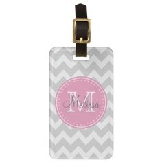 Monogram, Personalize, Chevrons, Gray, Pink Luggage Tag