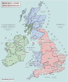 Maps of Britain and Ireland's ancient tribes, kingdoms and DNA  British Isles 4 - Anglo-Saxon 10AD-600AD