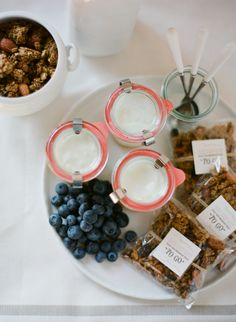 "50 ideas for Mason Jars.  I love the idea of taking a large container of yogurt - splitting it into smaller mason jars - then bagging granola/cereal &/or fruit as an easy ""to go"" breakfast!"