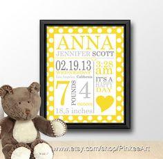 Baby name art, new baby wall decor, nursery birth subway, birth announcement, baby birth stats, baby birth print, date of birth art print on Etsy, $17.00