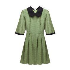Jacquard Detailed Navy Green Shift Dress ($61) ❤ liked on Polyvore featuring dresses, green, green peter pan collar dress, navy blue shift dress, reversible dress, jacquard dress and shift dresses