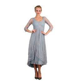 Downton Abbey Tea Party Gown in Sunrise by Nataya. Beautiful vintage-inspired dresses. Fast worldwide delivery. Click or call 323-592-9172 for more info.