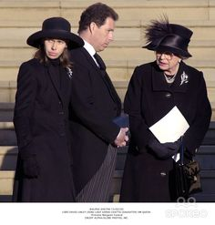 Princess Margaret's funeral. Her children Lady Sarah & Lord Linley, Queen Elizabeth.