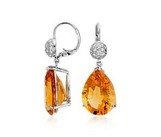 ...and these:) Citrine and Diamond Drop Earrings in 18k White Gold