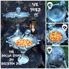 We tried it! The Dollar Store DIY Skeleton Dish!