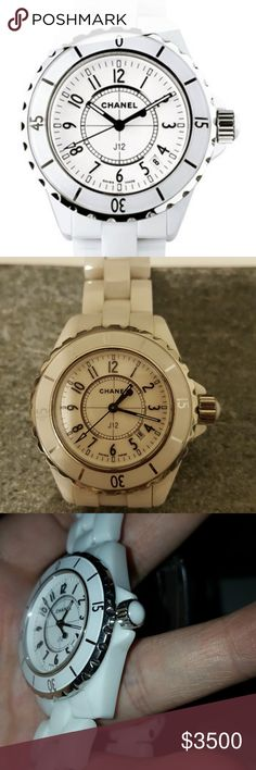 """CHANEL """"J12"""" WHITE CERAMIC 38MM LADIES WATCH 100% AUTHENTIC.  Great Condition. Light scratches on the hardware. POSHMARK will verify the authenticity for free. No box or papers. Works perfectly. FOR SALE ONLY. MAKE YOUR OFFER USING THE BUTTON. NO TRADES. THANKS!! CHANEL Accessories Watches"""
